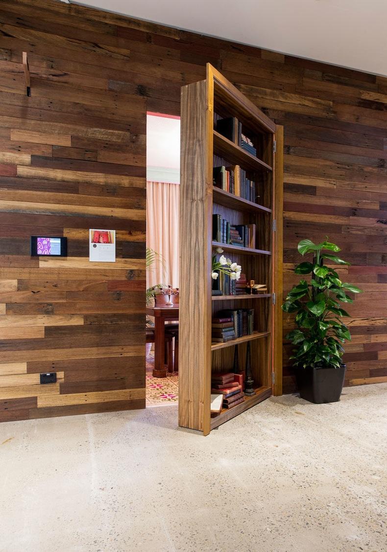 Sydney Office Interior Design With Hidden Doors – Bookcase