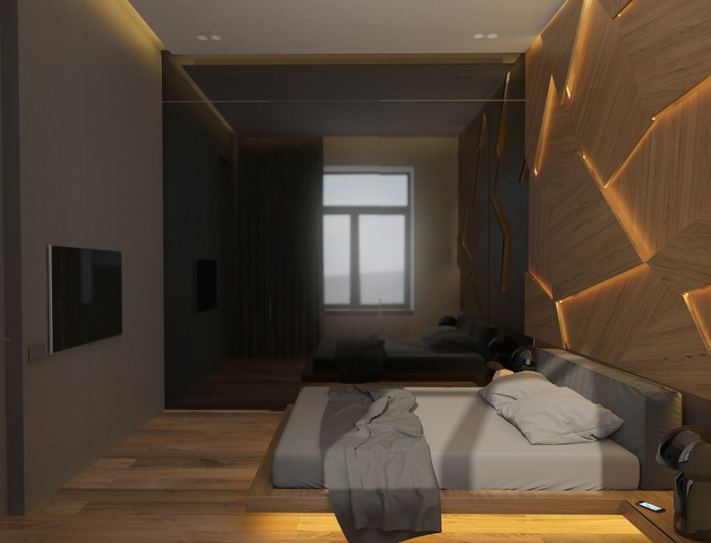 Geometric Decorative Wall Panel With LED Light For Bedroom