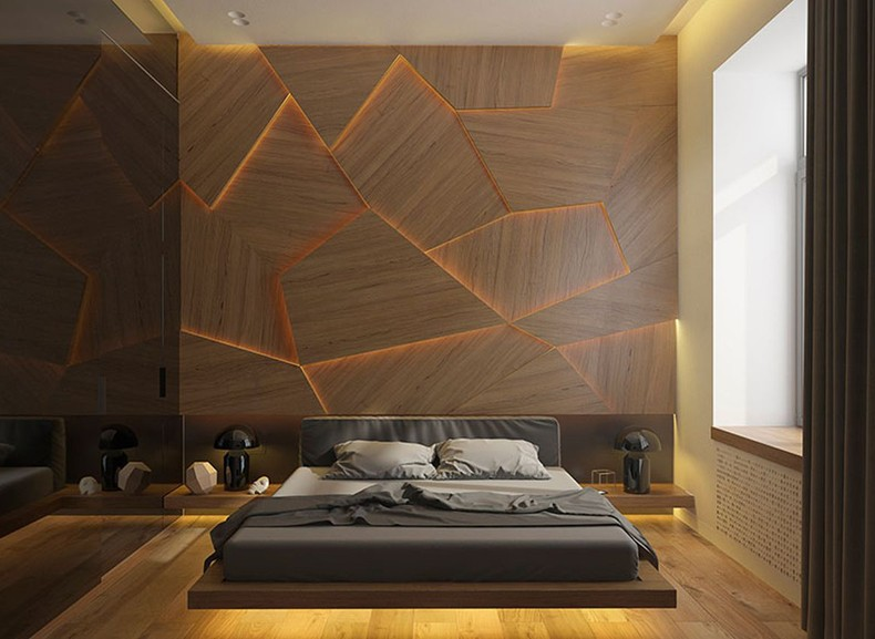 Geometric Decorative Wall Panel With LED Light