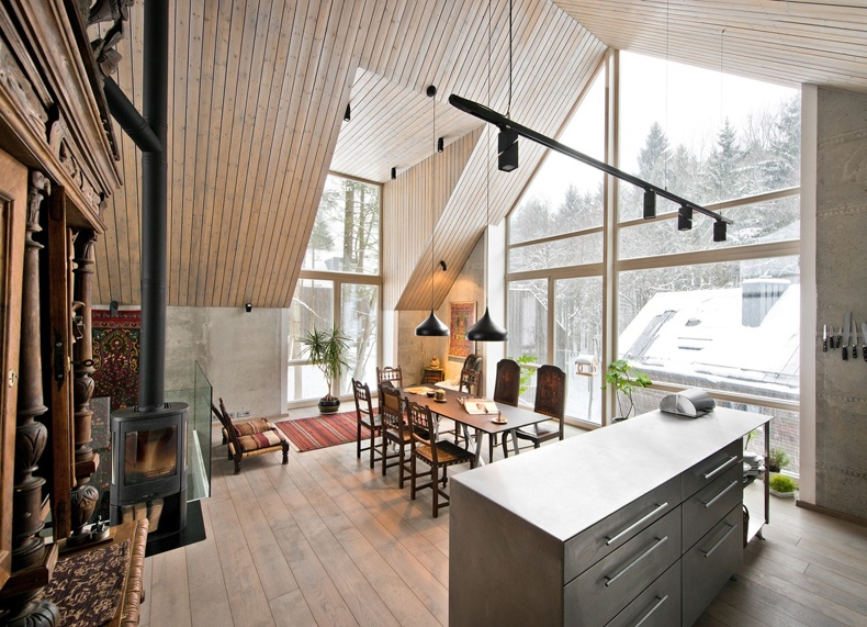 Lithuanian House Has A Wood-burning Stove In The Living Area
