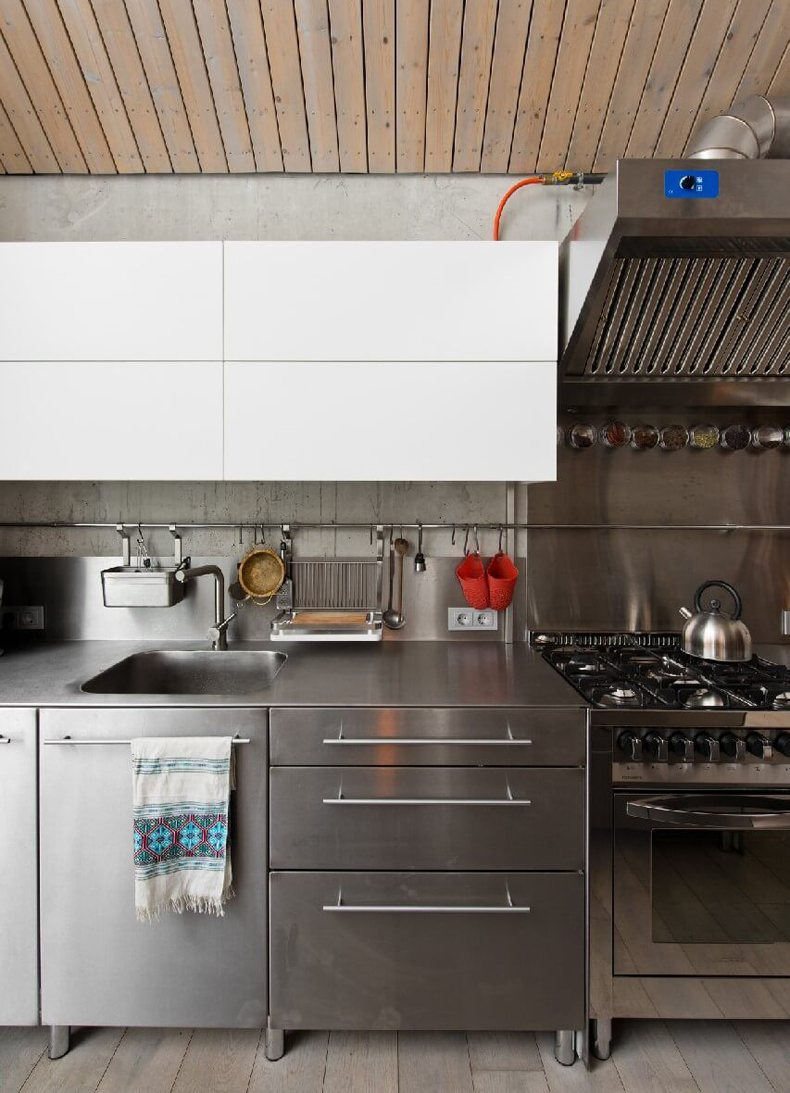Lithuanian House Has Stainless Steel Kitchen Cabinetry