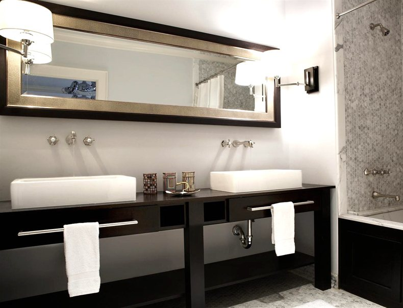Long Vertical Mirror Four a Double Freestanding Sink