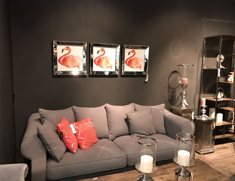 Mirrored Flamingo Framed Art Above The Sofa For Living Room