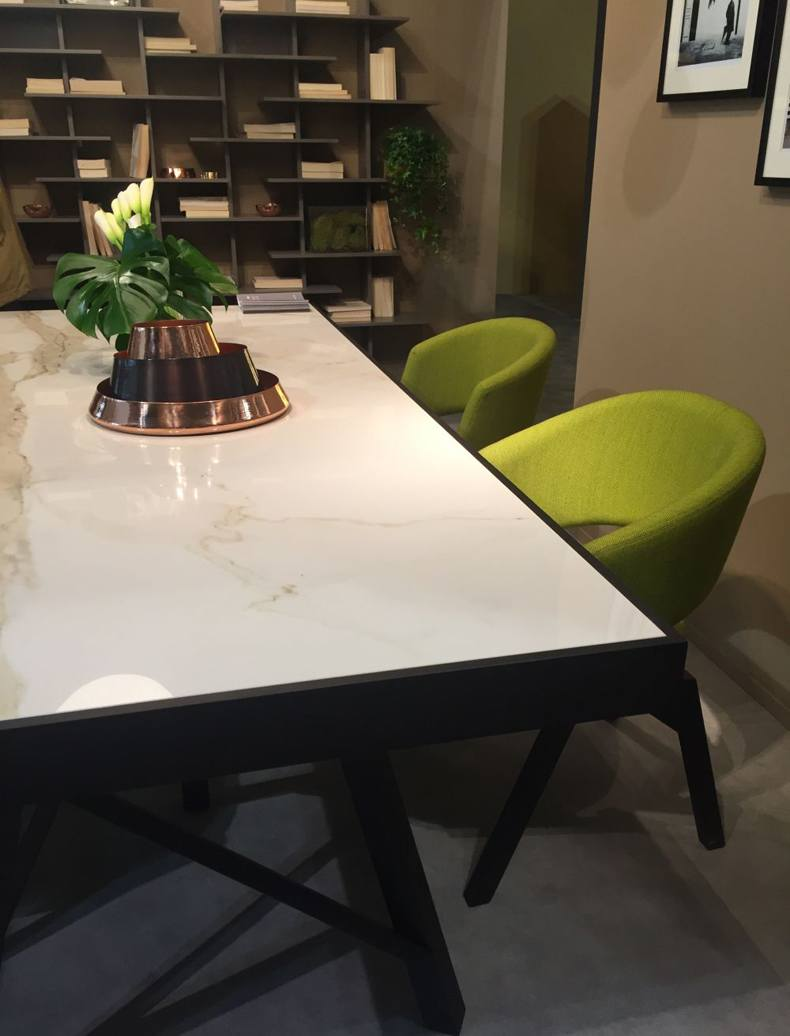 Modern White Marble Top Table And Green Upholsterd Chairs