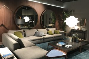 Porada Living Room With Round Mirrors