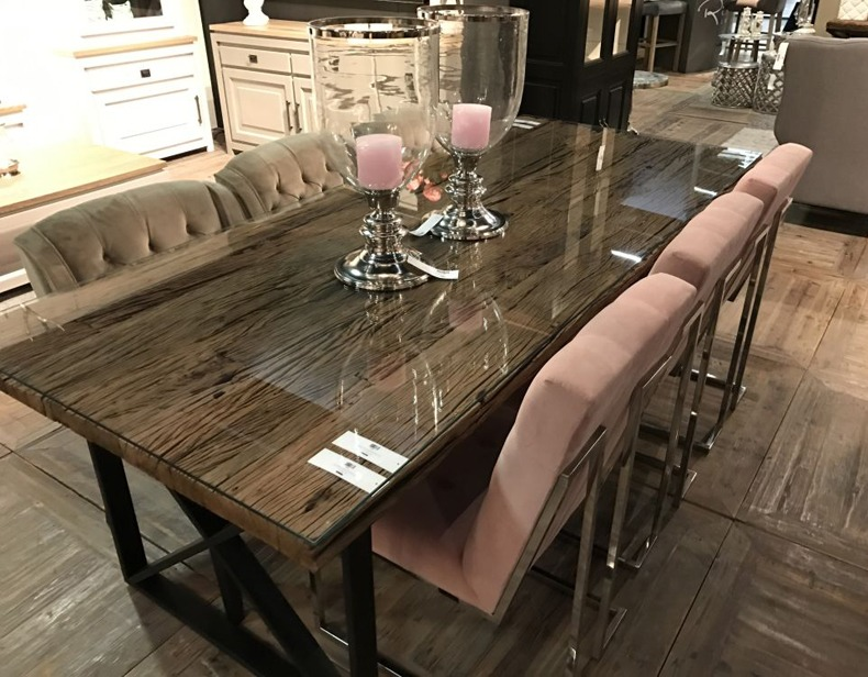 Reclaimed Wood Table With Glass Top