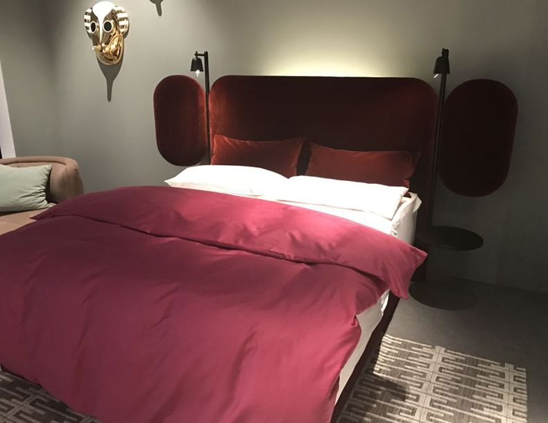 Red Bed Design With Large Headboard And Reading Lights