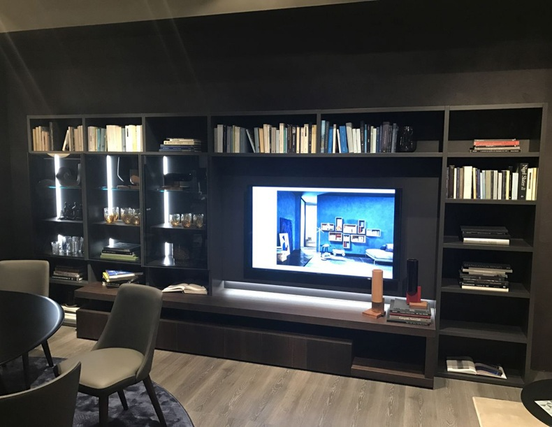 Shelves Around TV on Wall