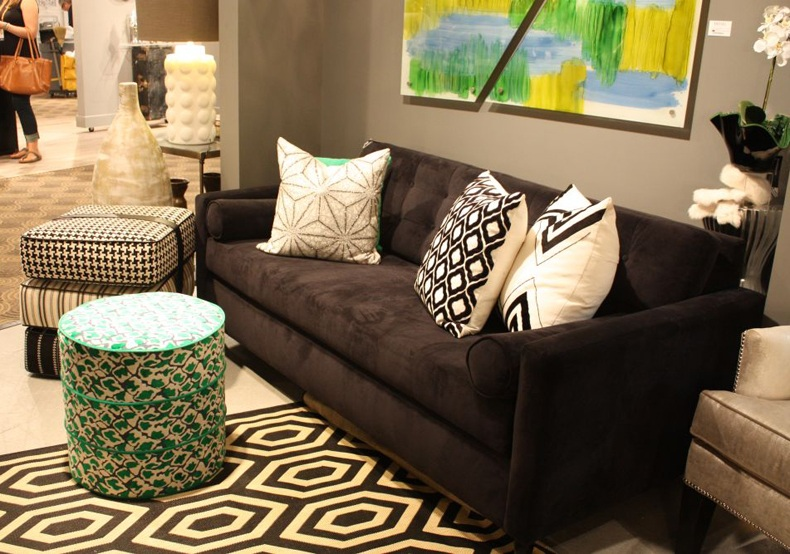 Deconstructed Art With Green Pattern Ottoman