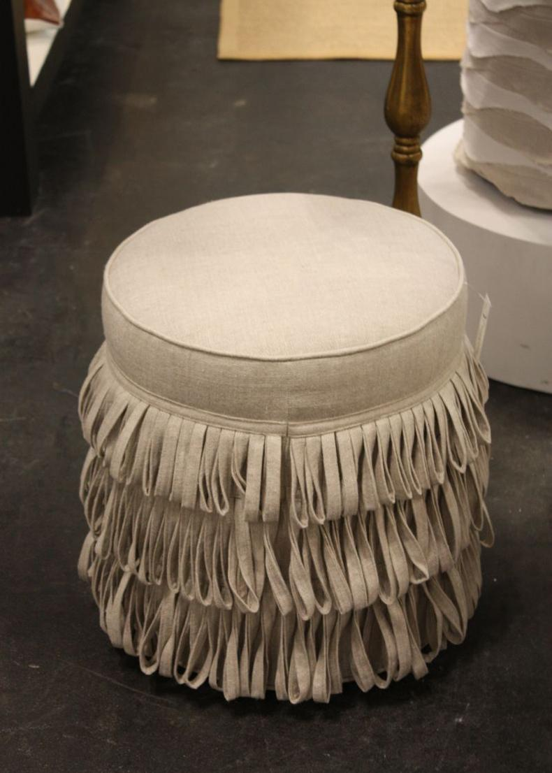 Round Ottoman With Fringe