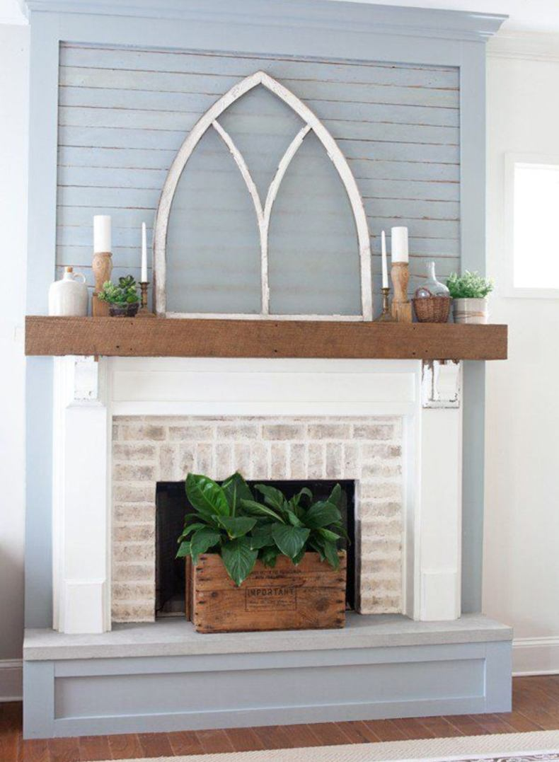 Fireplace Mantel With Window Above
