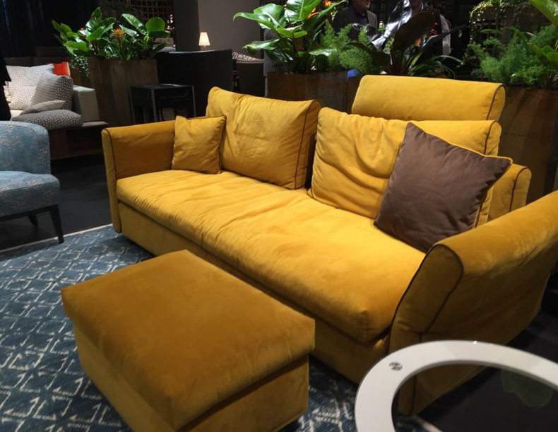 Beige and mustard yellow sofa will fit perfectly mostly to all interiors.