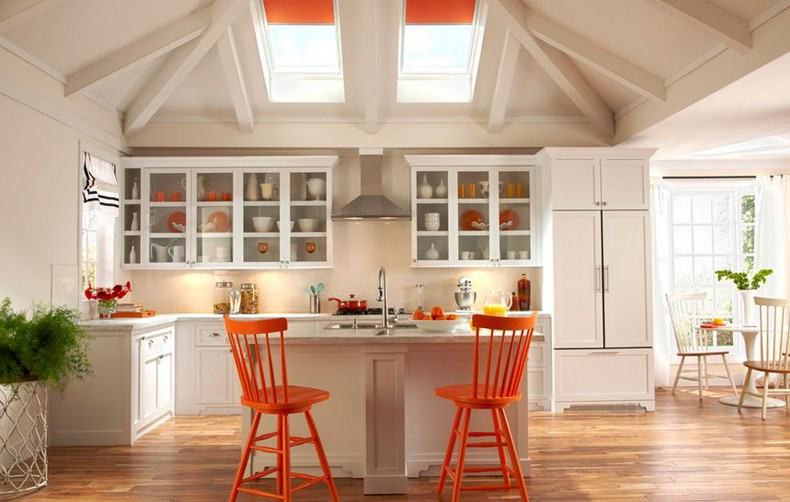 Orange And Red Kitchen Interior Design
