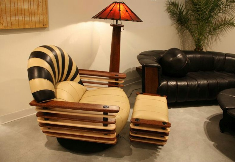 Leather Armchair With Wooden Arms