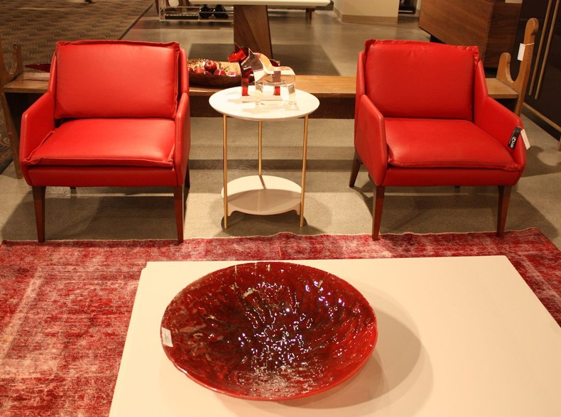 Roberta Schilling Red Leather Chairs