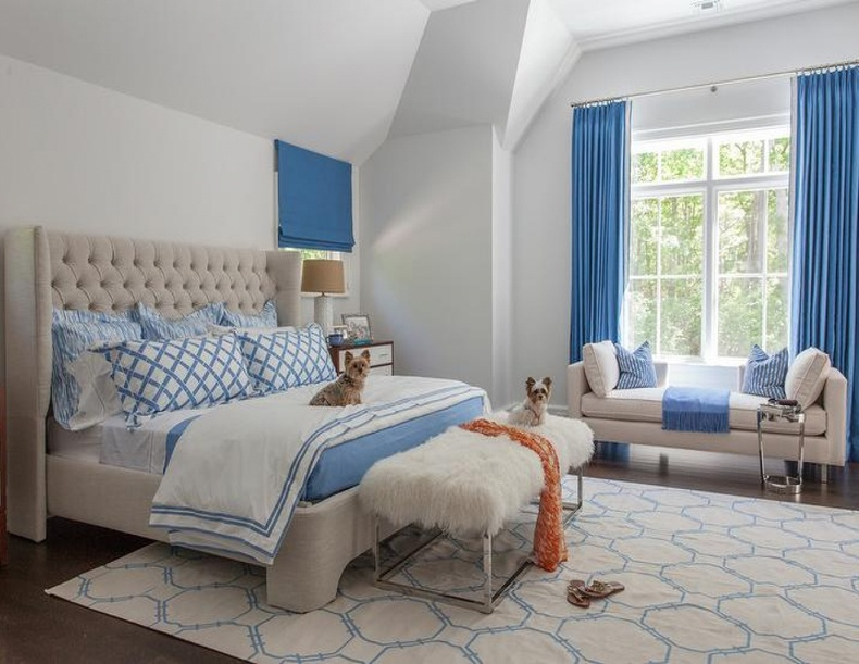 Any interior ideas play well in any blue themed bedroom decor.