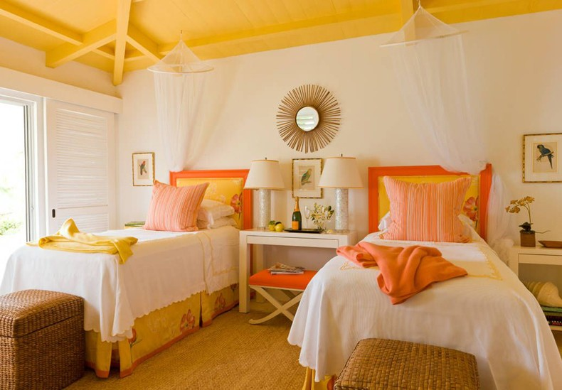 Add bright sunny colors such as orange, yellow, red for creating a sunshine bedroom that will bring you happiness as well.