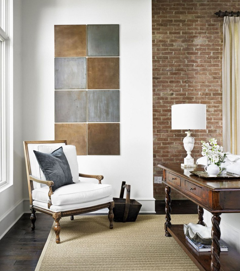Neutral Wall Art With Metallic Squares