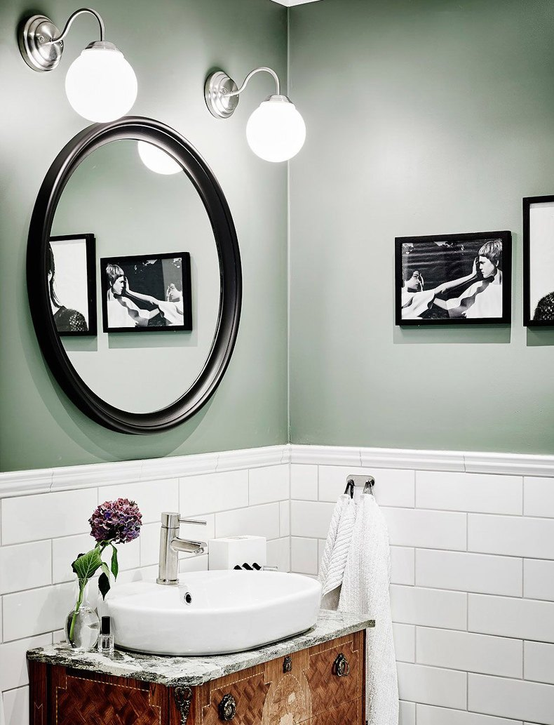 Powder Room With Sage Green Walls