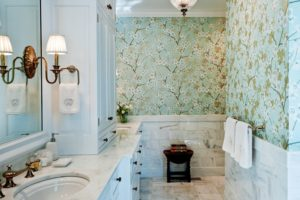Bathroom Chairrail Marble Wallpaper