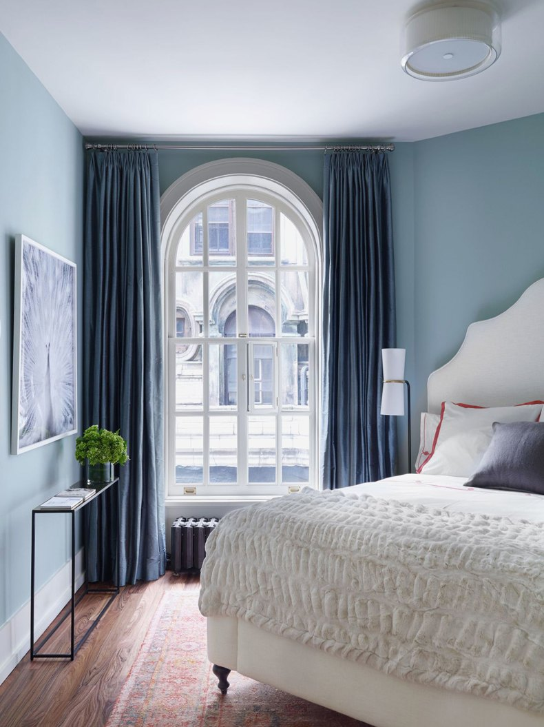 Blue Paint Small Bedroom With Large Curtains