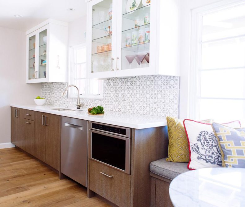 Contemporary Galley Kitchen Pattern Backsplash