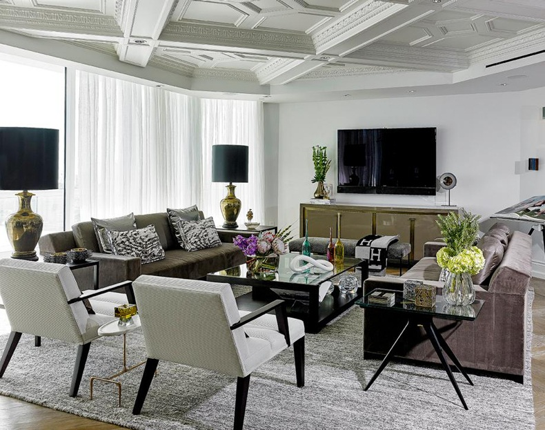 Contemporary Living Room Ornate Ceiling