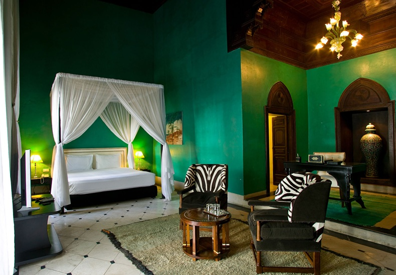 Eclectic Emerald Green Bedroom