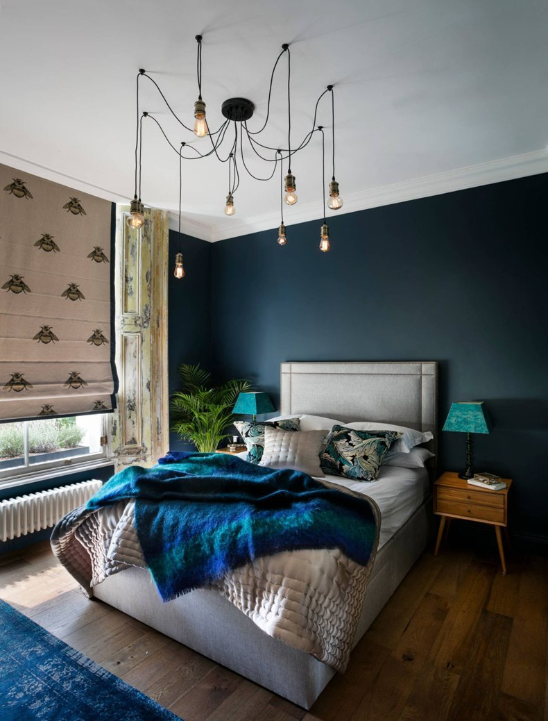 Eclectic Navy Bedroom Chandelier