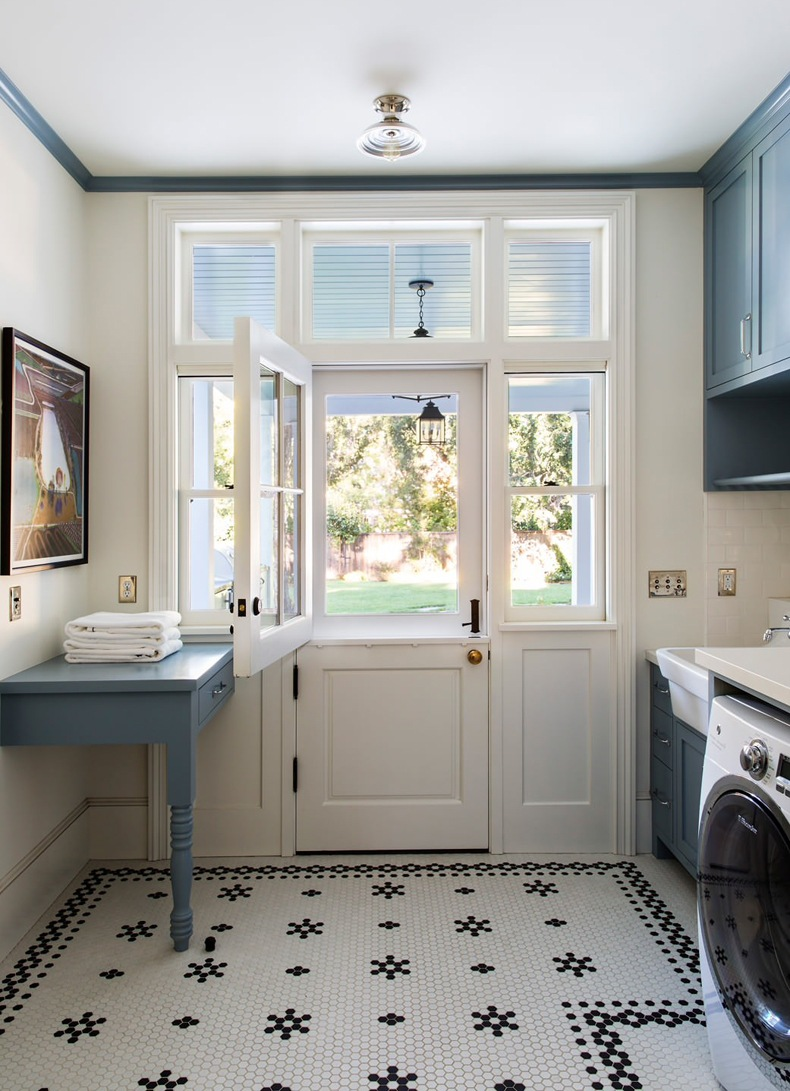 Farmhouse Laundry Room Blue Cabinets