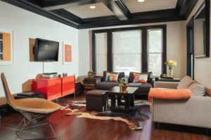 Industrial Living Room Black Coffered Ceiling
