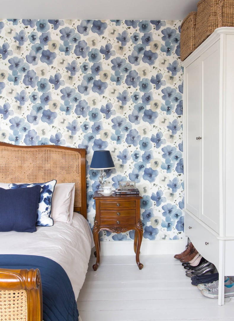 Master Bedroom Blue Painted Floral Wallpaper