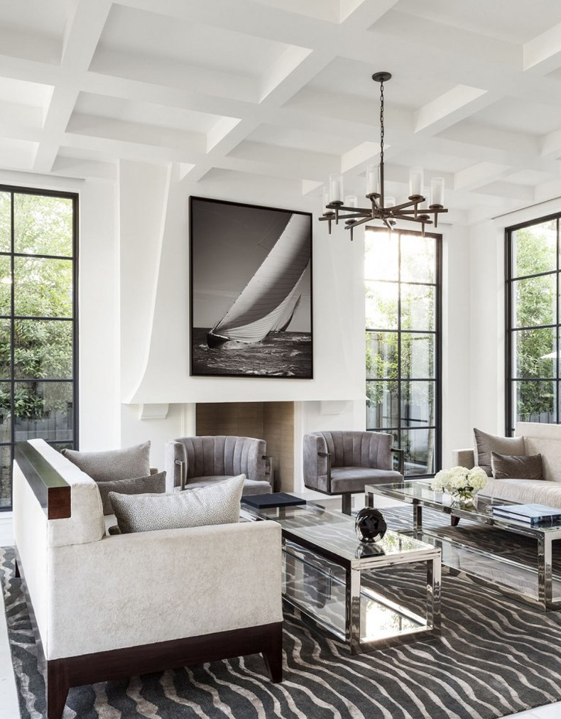 Modern Living Room White Coffered Ceiling
