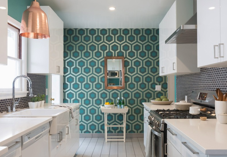 Pattern Wallpaper Galley Kitchen