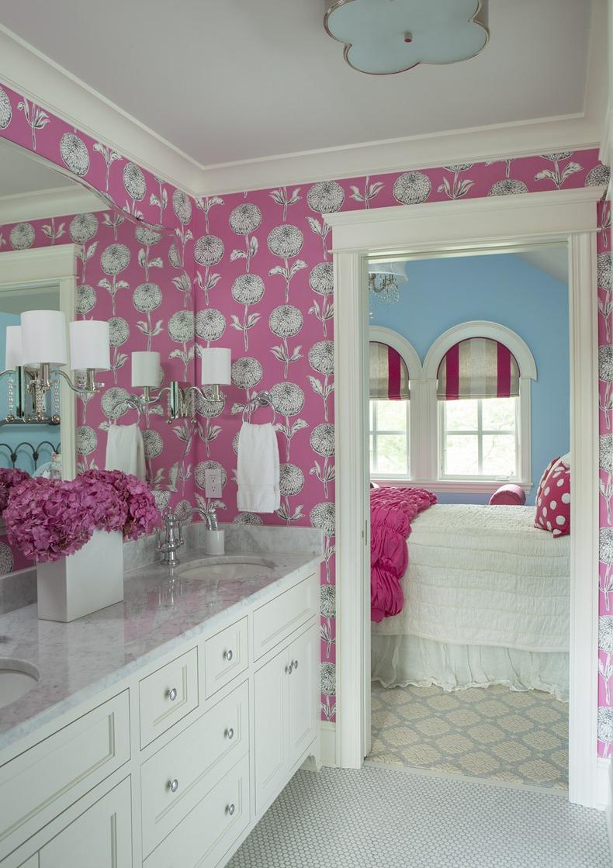 Pink Bathroom Floral Wallpaper Design