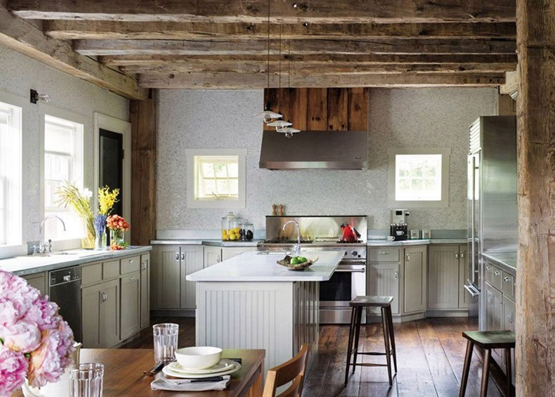 Rustic Kitchen Gray Painted Cabinets