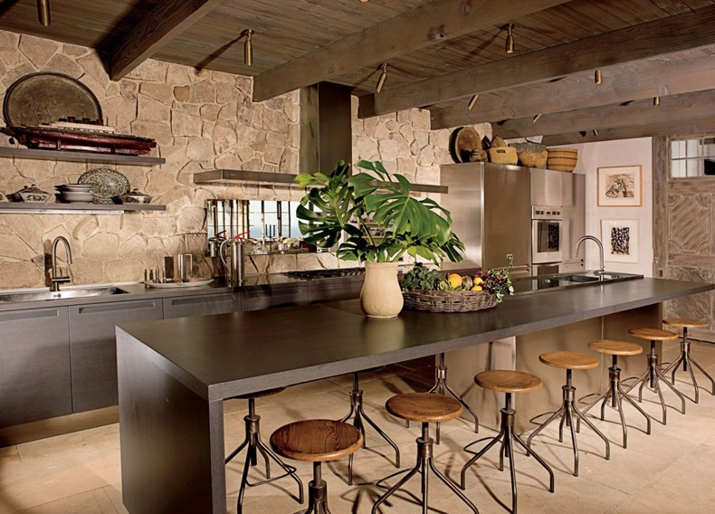 Rustic Kitchen With Industrial Chairs