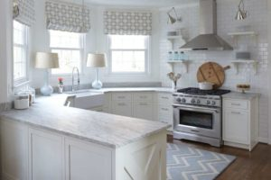 Traditional Kitchen Lattice Roman Shades