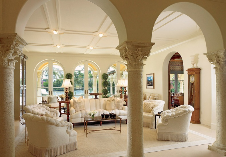Traditional Living Room Shallow Coffered Ceiling