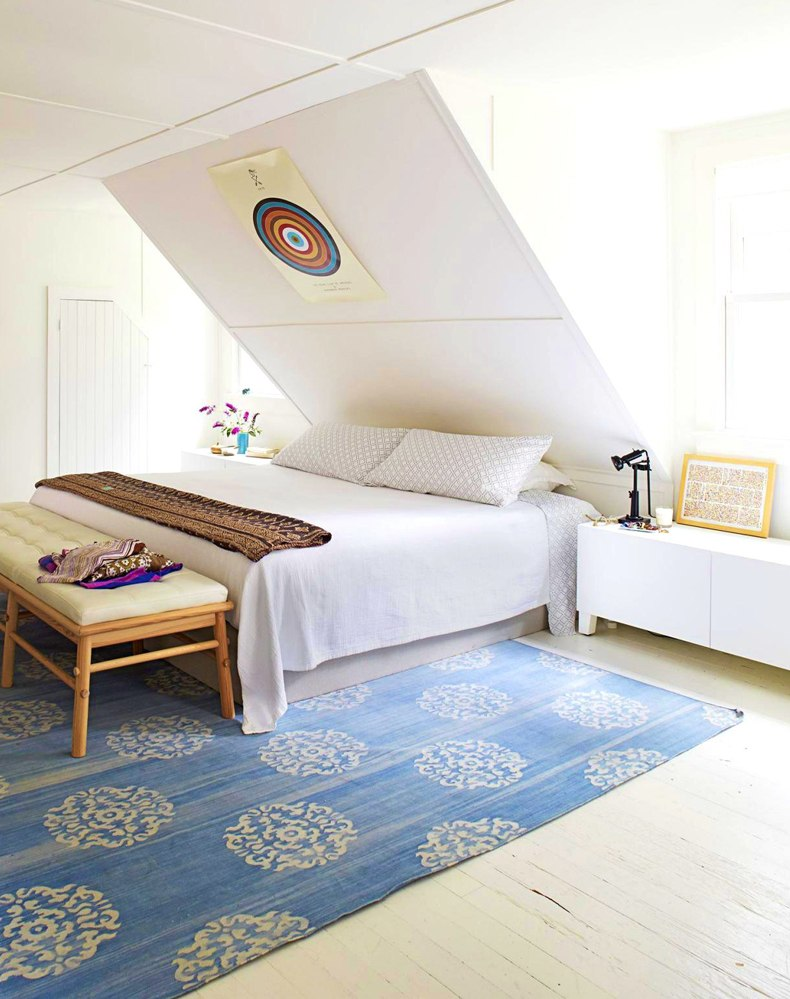 White Traditional Attic Bedroom