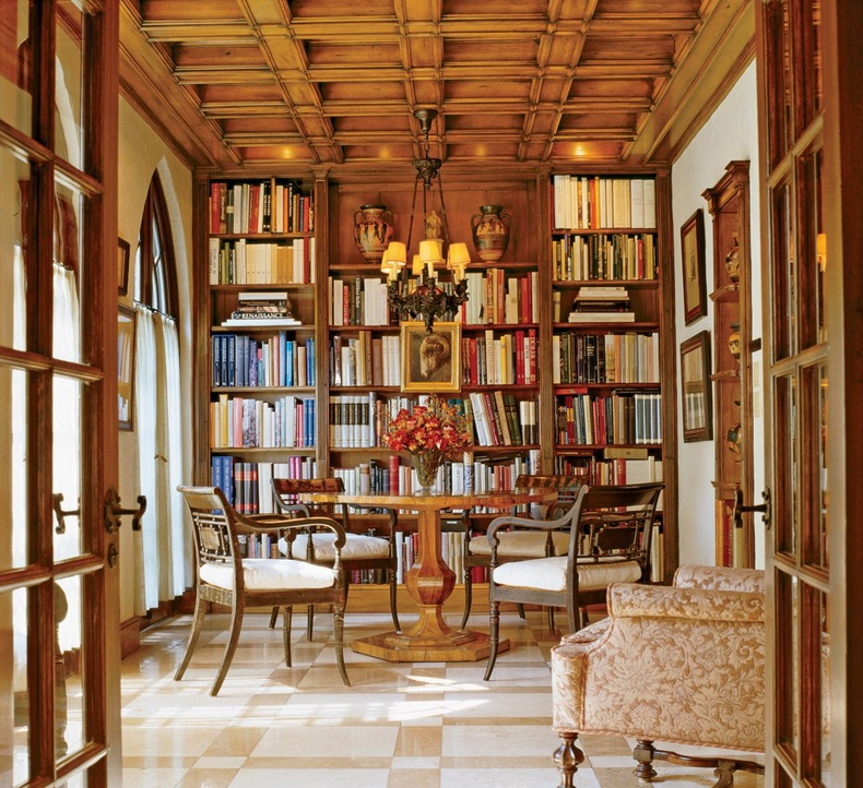 Wood Coffered Ceiling Library