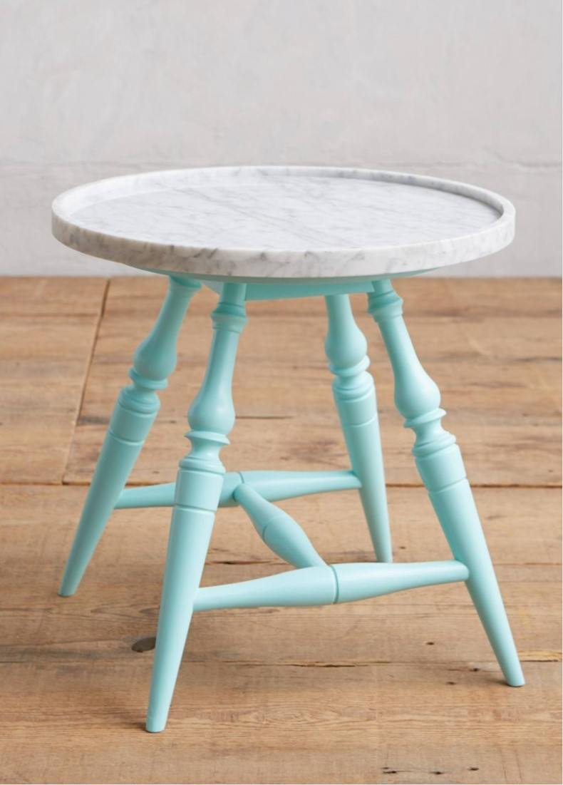 Blue and White Ceramic Side Table