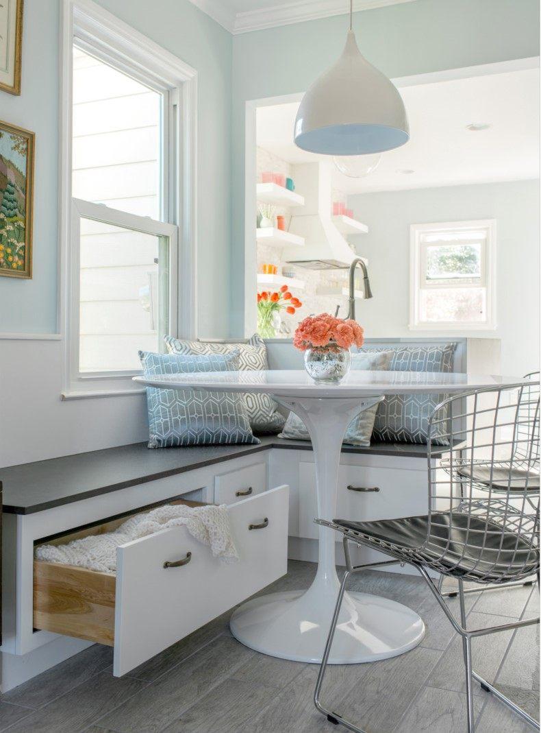 White Breakfast Nook With Storage