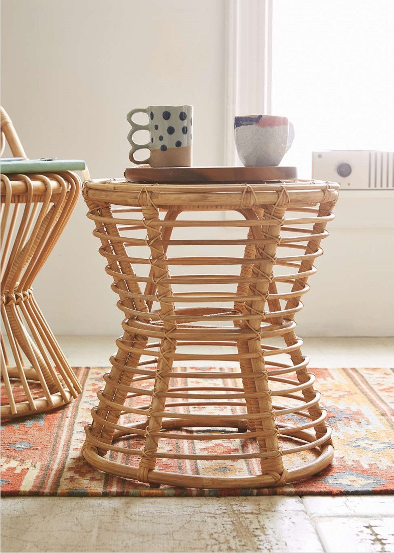 Rattan End Table Bamboo