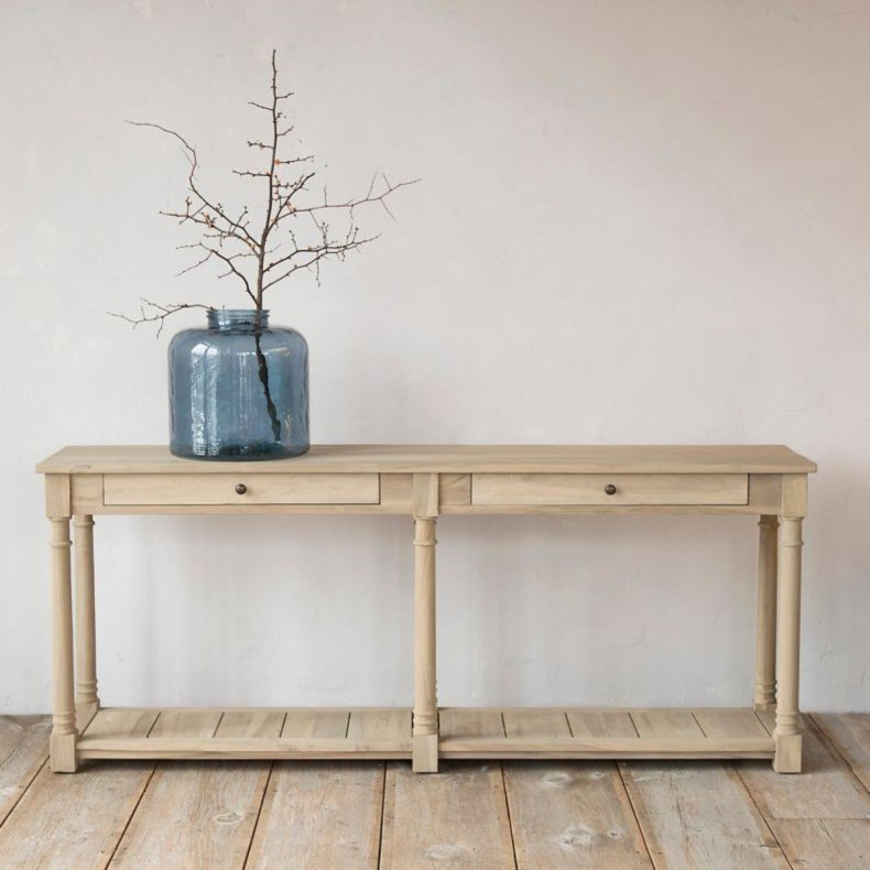 Teak Two Drawer Console