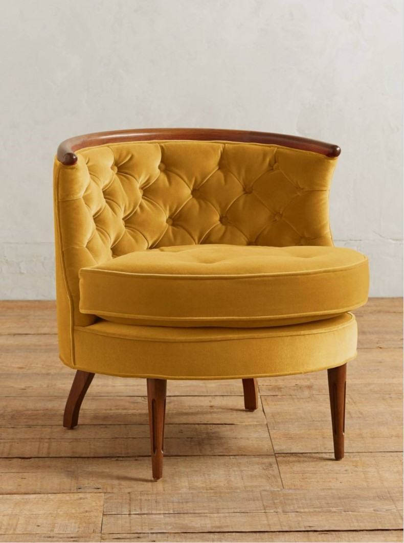 Yellow Velvet Tufted Armchair