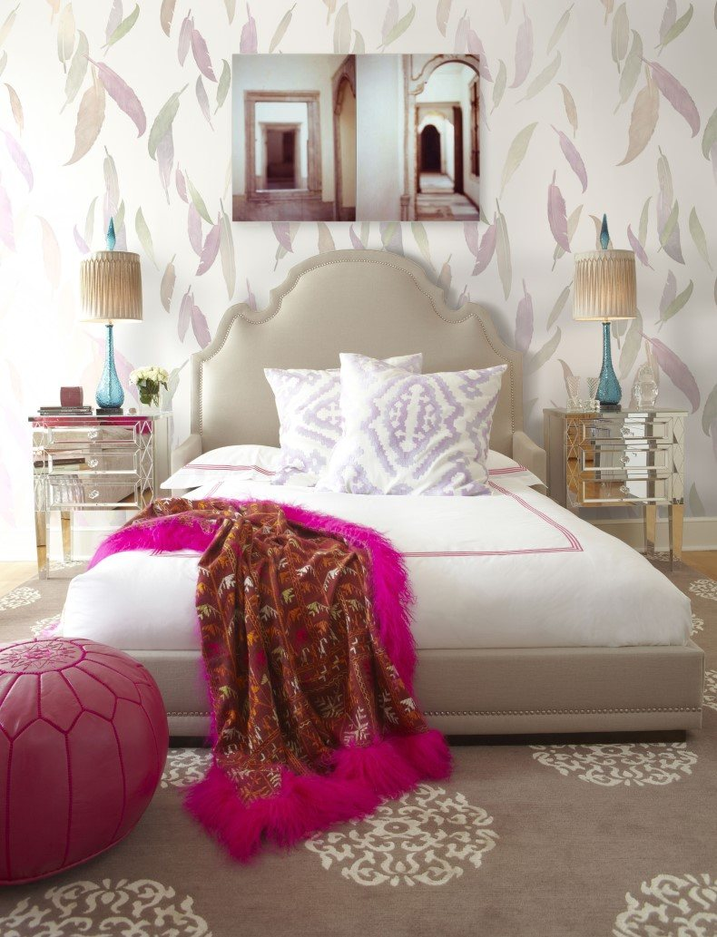 Beautiful Walpaper For Bedroom With White Bed Plus Pink Blanket