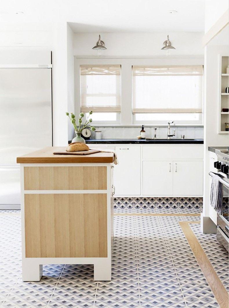 Blue Floor Tiles for Kitchen