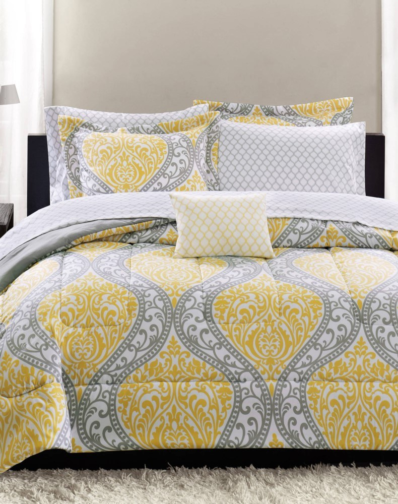 Feminine Damask Grey And Yellow Bedroom