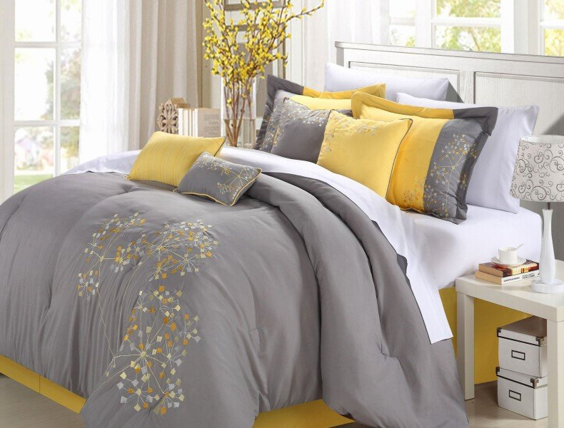 Geo Floral Grey And Yellow Bedroom